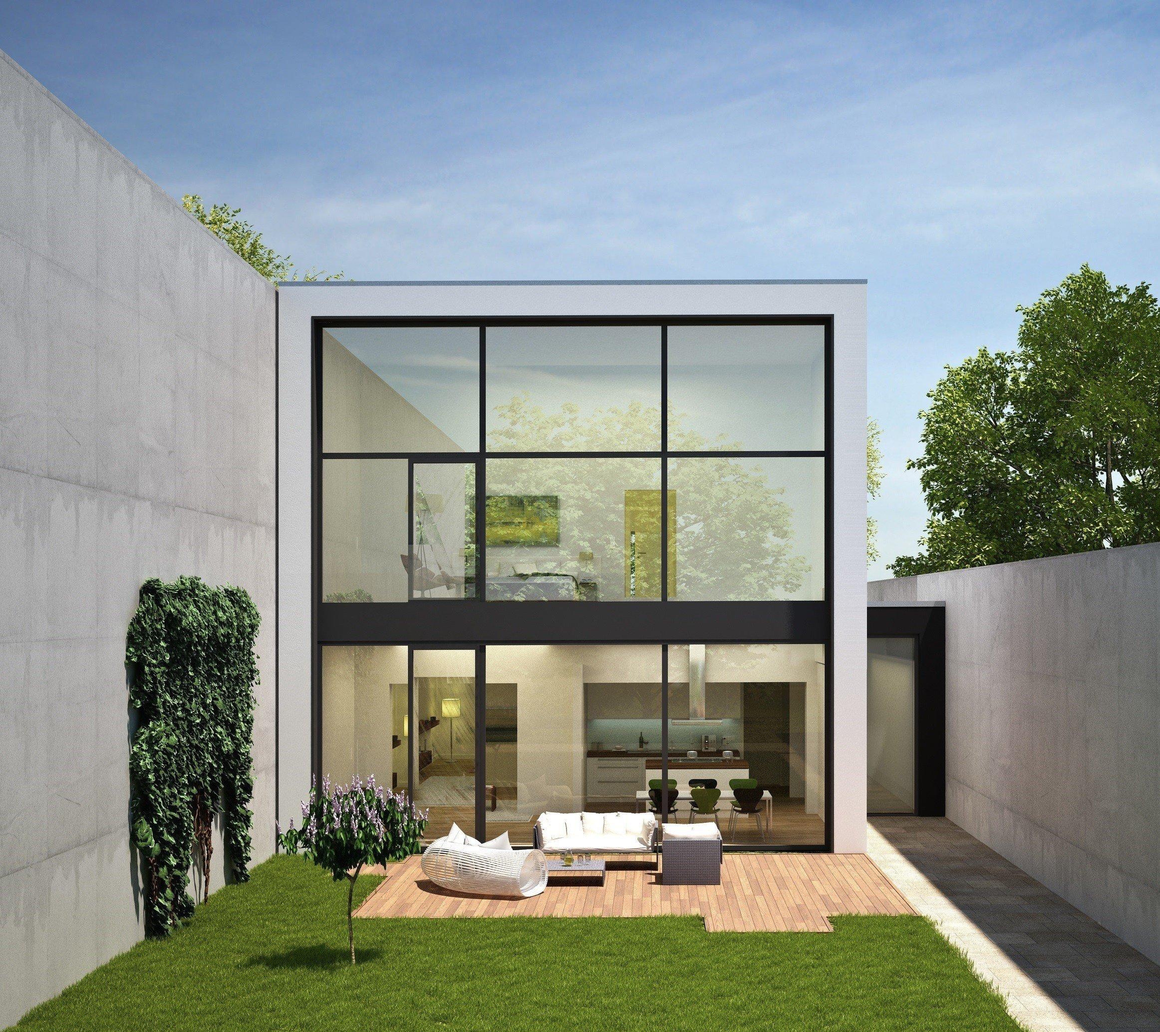 Haus mit großer Glasfront